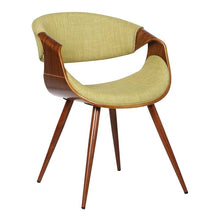 Load image into Gallery viewer, Butterfly Mid-Century Dining Chair in Walnut Finish and Green Fabric