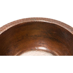 "14"" Round Hammered Copper Bar Sink w/ 2"" Drain Size"