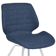 Load image into Gallery viewer, Valor Contemporary Dining Chair in Brushed Stainless Steel with Dark Vintage Blue Faux Leather