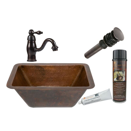 Rectangle Hammered Copper Sink with ORB Single Handle Faucet, Matching Drain