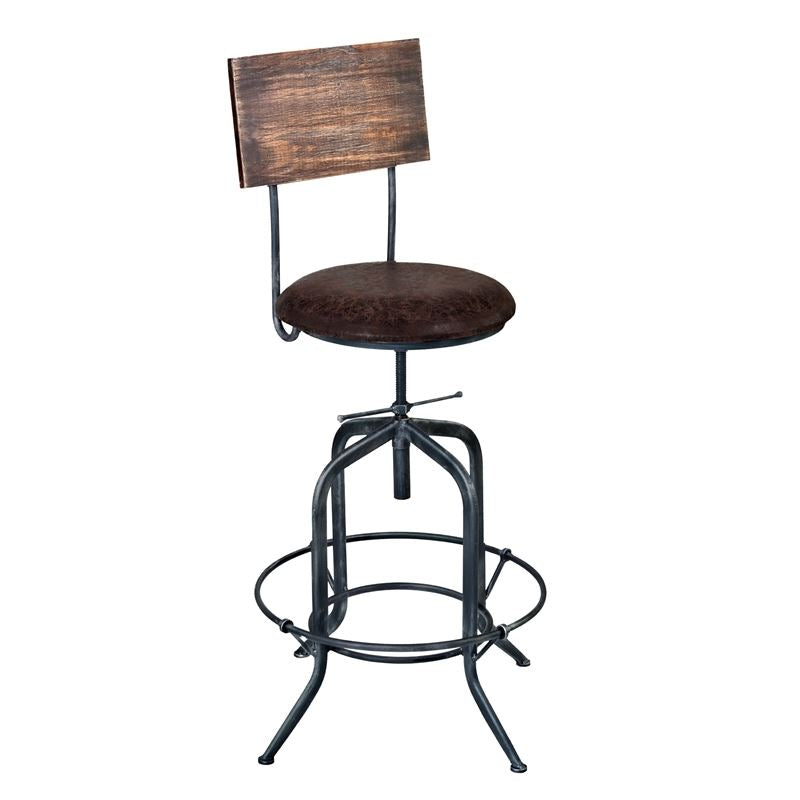 Damian Adjustable Barstool Metal in Industrial Grey Finish with Brown Fabric Seat