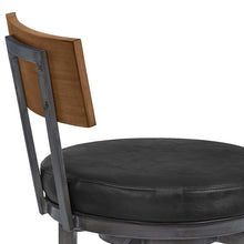 "Load image into Gallery viewer, Ojai 30"" Bar Height Metal Swivel Barstool in Vintage Black Faux Leather with Mineral Finish and Walnut Wood Back"