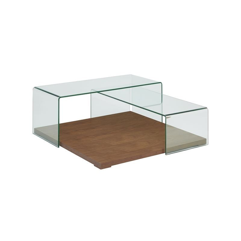 KINETIC Walnut Veneer w Clear Glass Coffee Table by Casabianca Home
