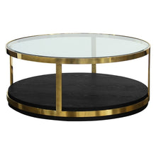 Load image into Gallery viewer, Hattie Contemporary Coffee Table in Brushed Gold Finish and Black Wood