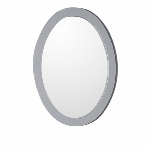 Bellaterra Oval Framed Mirror Manufactured Wood Light Gray
