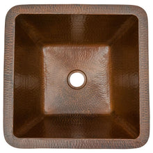 "Load image into Gallery viewer, 15"" Square Under Counter Hammered Copper Bathroom Sink"
