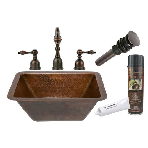 Rectangle Hammered Copper Sink with ORB Widespread Faucet, Matching Drain