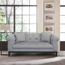 Load image into Gallery viewer, Glamour Contemporary Loveseat with Black Iron Finish Base and Grey Fabric