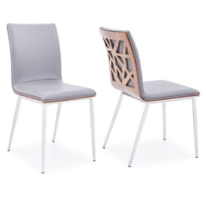 Crystal Dining Chair in Brushed Stainless Steel finish with Gray Pu upholstery and Walnut back (Set of 2)