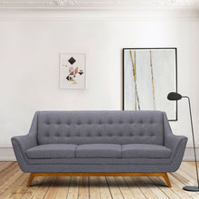 Load image into Gallery viewer, Janson Mid-Century Sofa in Champagne Wood Finish and Dark Grey Fabric