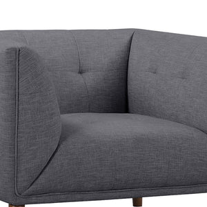 Hudson Mid-Century Button-Tufted Chair in Dark Gray Linen and Walnut Legs