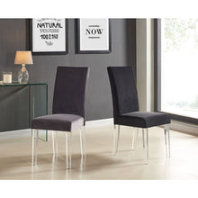 Load image into Gallery viewer, Dalia Modern and Contemporary Dining Chair in Black Velvet with Acrylic Legs (Set of 2)