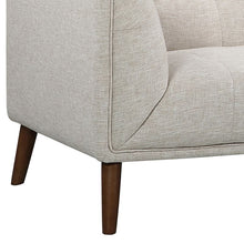 Load image into Gallery viewer, Hudson Mid-Century Button-Tufted Loveseat in Beige Linen and Walnut Legs