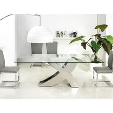 Load image into Gallery viewer, GENEVA Chrome / Clear Glass Dining Table by Casabianca Home