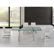 Load image into Gallery viewer, FROSTY Chrome  Clear and Frosted Glass Extendable Dining Table