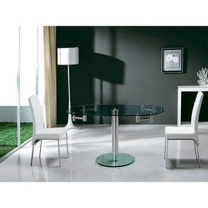 THAO Stainless Steel / Clear Glass Extendable Dining Table by Casabianca Home