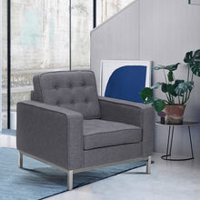 Load image into Gallery viewer, Chandler Contemporary Sofa Chair in Brushed Stainless Steel Finish and Dark Grey Fabric