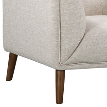 Load image into Gallery viewer, Hudson Mid-Century Button-Tufted Chair in Beige Linen and Walnut Legs