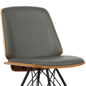 Inez Mid-Century Dining Chair in Gray Faux Leather with Black Powder Coated Metal Legs and Walnut Veneer Back