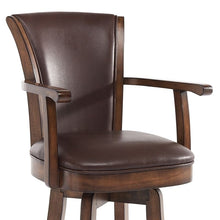 "Load image into Gallery viewer, Raleigh Arm 30"" Bar Height Swivel Wood Barstool in Chestnut Finish and Kahlua Faux Leather"