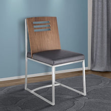 Load image into Gallery viewer, Oxford Dining Chair in Brushed Stainless Steel with Vintage Grey Faux Leather and Walnut Wood Back (Set of 2)