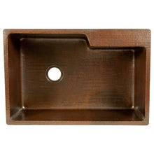 "Load image into Gallery viewer, 33"" Hammered Copper Kitchen Single Basin Sink w/ Space For Faucet"