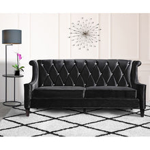 Load image into Gallery viewer, Barrister Sofa In Black Velvet With Crystal Buttons
