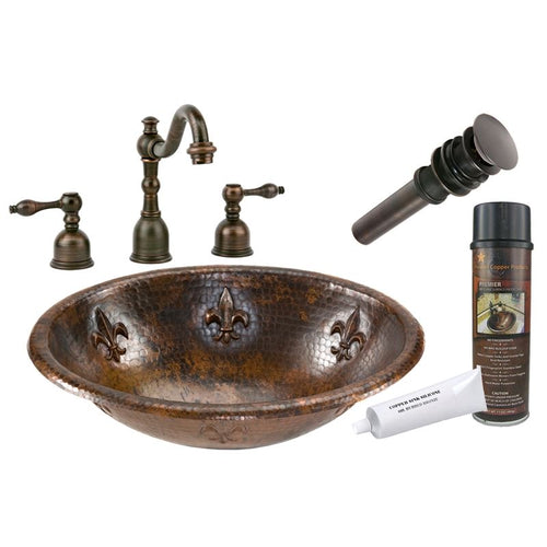 Fleur De Lis Self Rimming Hammered Copper Sink ORB Widespread Faucet w Drain