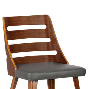 Storm Mid-Century Dining Chair in Walnut Wood and Gray Faux Leather