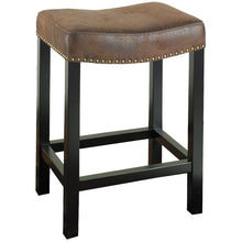 "Load image into Gallery viewer, Tudor 26"" Backless Stationary Barstool in Wrangler Brown Fabric with Nailhead Accents"