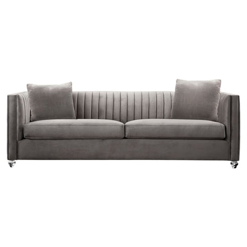 Emperor Contemporary Sofa with Acrylic Finish, Beige Fabric and Pillows