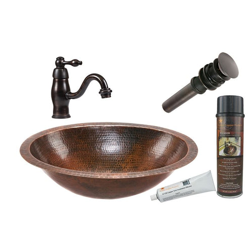 Oval Under Counter Hammered Copper Sink with ORB Faucet, Matching Drain