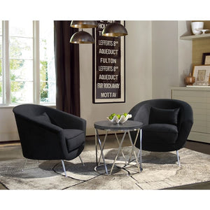 Tulare Contemporary Accent Chair in Brushed Stainless Steel Finish with Black Fabric