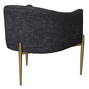 Jolie Contemporary Accent Chair in Shiny Gold Finish with Black Fabric