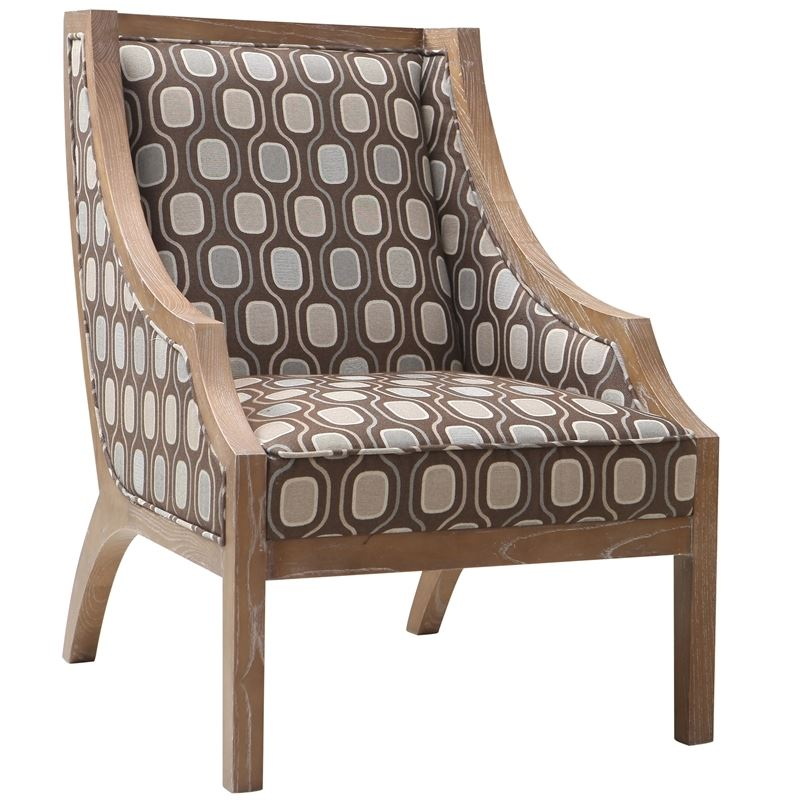 Sahara Solid Wood Accent Chair In Multi-Colored Fabric