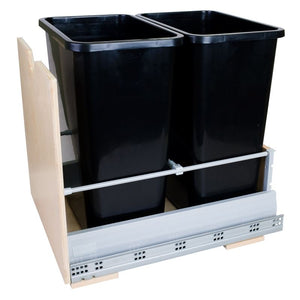 Preassembled 35-Quart Double Pullout Waste Container System with Black Cans