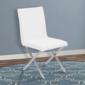 Tempe Contemporary Dining Chair in White Faux Leather with Brushed Stainless Steel Finish - Set of 2
