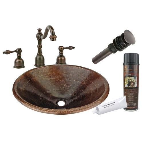 Bath Oval Self Rimming Hammered Copper Sink w ORB Widespread Faucet w Drain