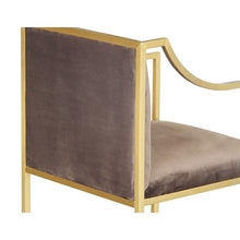 Load image into Gallery viewer, Seville Contemporary Dining Chair in Brushed Gold Finish and Brown Fabric