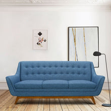 Load image into Gallery viewer, Janson Mid-Century Sofa in Champagne Wood Finish and Blue Fabric