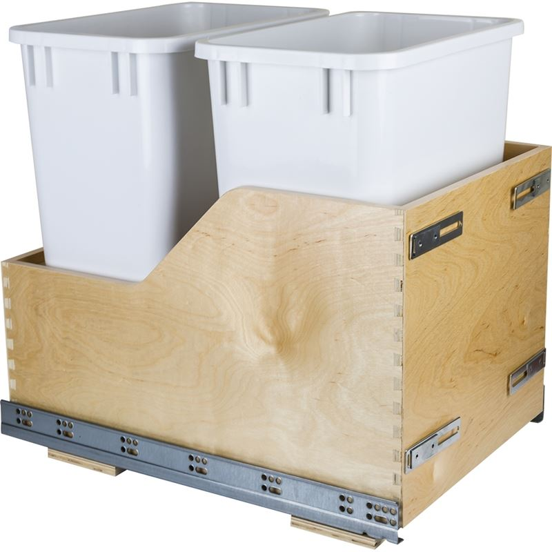 Preassembled 35-Quart Double Pullout Waste Container System CDM-WBMD35WH