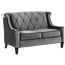 Load image into Gallery viewer, Barrister Loveseat In Gray Velvet with Black Piping