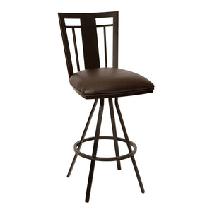 "Cleo 30"" Transitional Barstool In Coffee and Auburn Bay Metal"