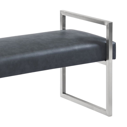 Grant Contemporary Bench in Grey Faux Leather and Brushed Stainless Steel Finish