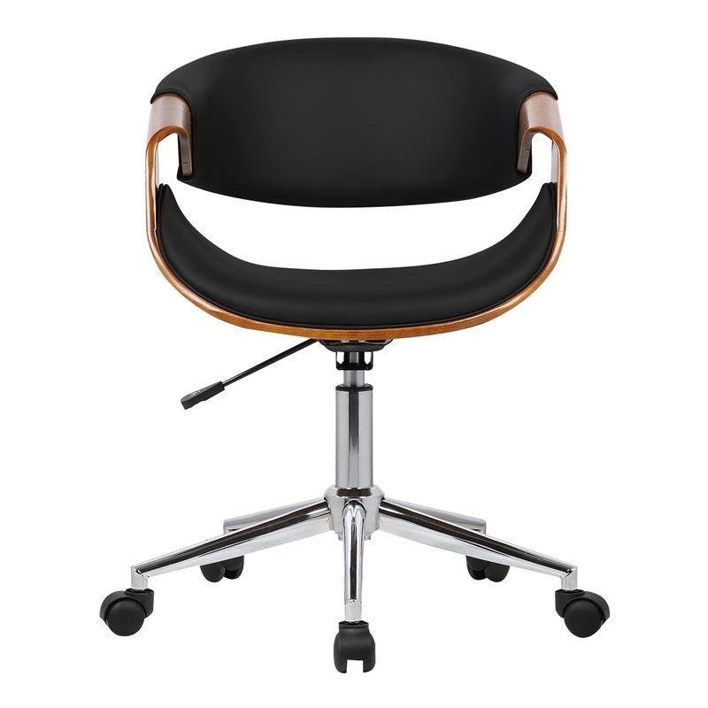 0999b06535 Geneva Mid-Century Office Chair in Chrome finish with Black Faux ...