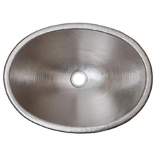 "Load image into Gallery viewer, 19"" Oval Self Rimming Hammered Copper Bathroom Sink in Nickel"