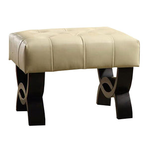 "Central Park 24"" Tufted Cream Bonded Leather Ottoman"