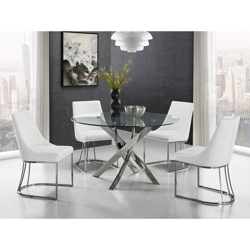 GALAXY Chrome / Clear Glass Dining Table by Casabianca Home