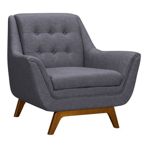 Janson Mid-Century Sofa Chair in Champagne Wood Finish and Dark Grey Fabric