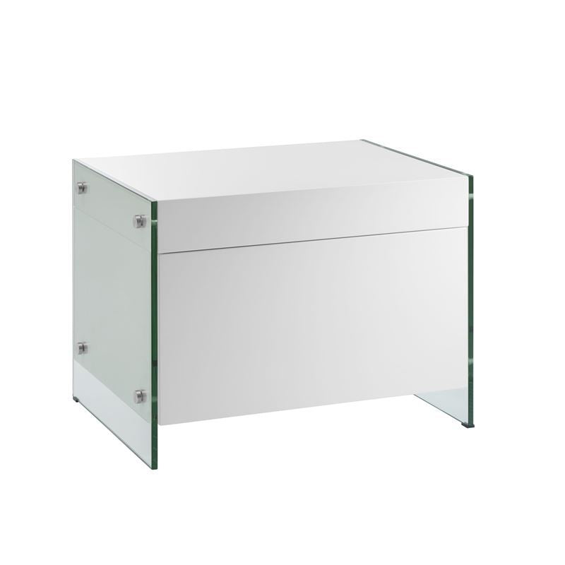 IL VETRO High Gloss White Lacquer Nightstand / End Table by Casabianca Home
